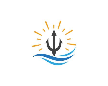 Trident Logo Template vector icon illustration design Logos