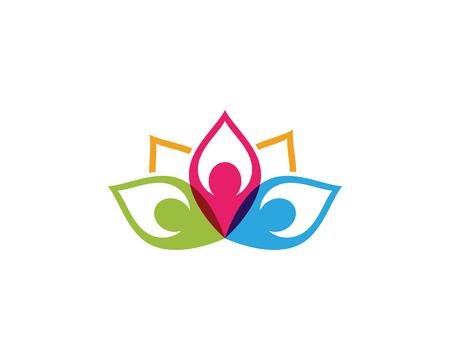 Icona del modello di logo di progettazione di fiori di loto di vettore di bellezza