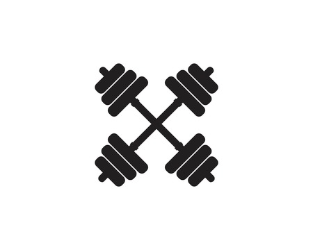 Barbel, Dumbbell Gym Icon Logo Template gym Badge, Fitness Logo Design