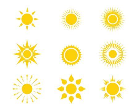 Conception de modèle d'icône Sun Vector illustration Vecteurs