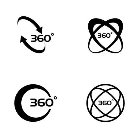 360 Degree View Related Vector Icons design template Vektoros illusztráció