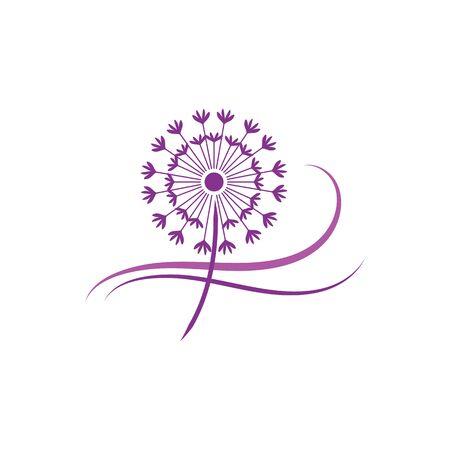 Plantilla de diseño de icono de vector de diente de león