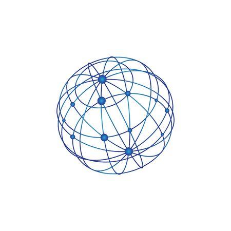 Draht Welt Logo Vorlage Vektor-Illustration