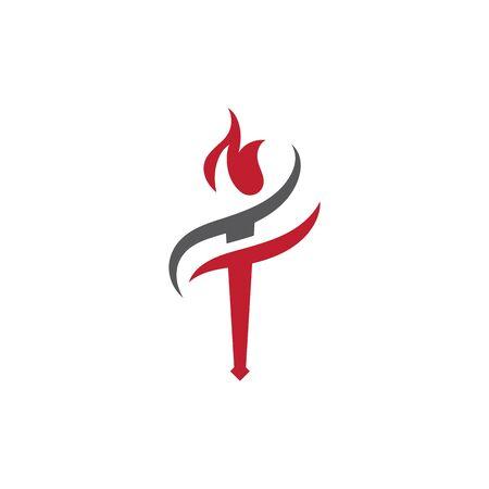 Torch vector icon illustration design template