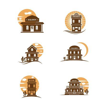 Buliding West vector icon illustration design template