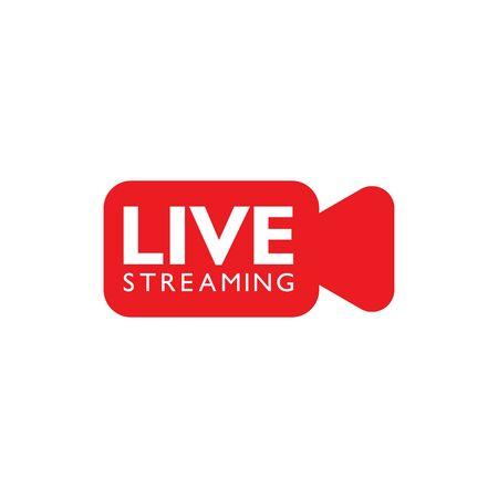 Design del logo in diretta streaming. Modello di disegno di illustrazione vettoriale