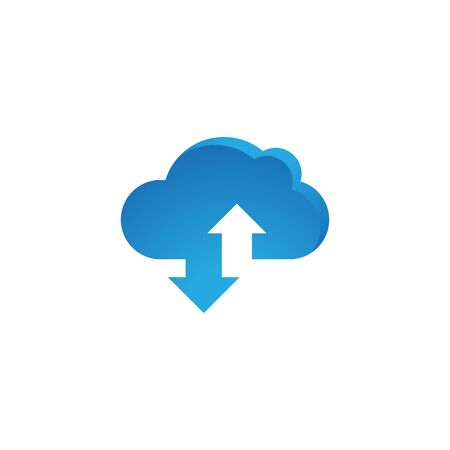 cloud with arrow vector icon design template Çizim