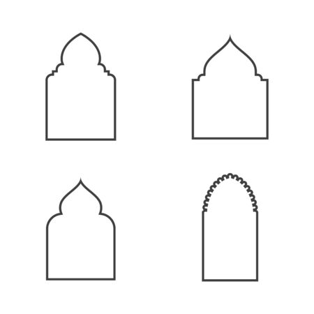 Mosque window vector icon design template