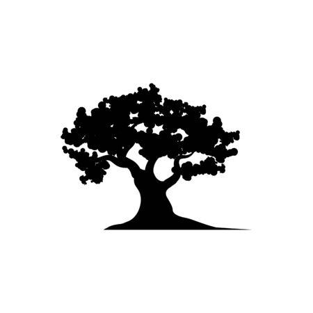 Modello di logo di design dell'illustrazione vettoriale dell'icona dell'albero di quercia