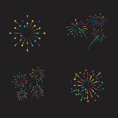 Modèle de conception d'illustration d'icône de vecteur de feu d'artifice Vecteurs
