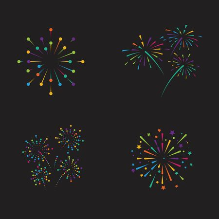 Vuurwerk vector pictogram illustratie ontwerpsjabloon Vector Illustratie