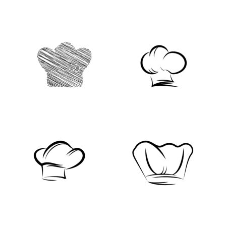 Set hat chef logo template vector illustration Ilustracja
