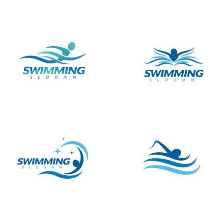 Plantilla de diseño de icono de ilustración vectorial de natación
