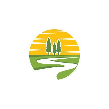 Fluss-Symbol Vektor-Illustration-Design-Logo-Vorlage