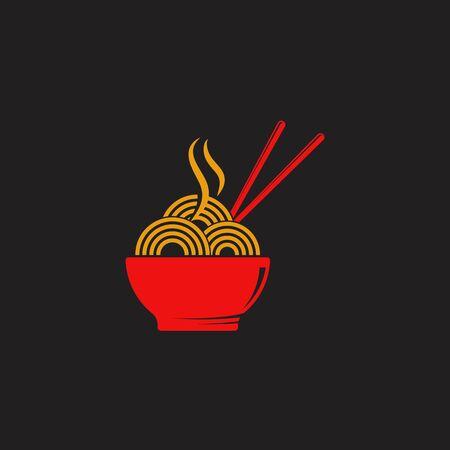 Noodles food sign symbol illustration design template