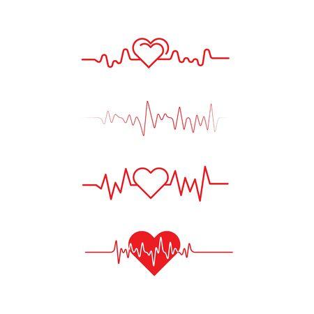 Ilustración de icono de pulso de latido del corazón médico de salud de diseño de arte