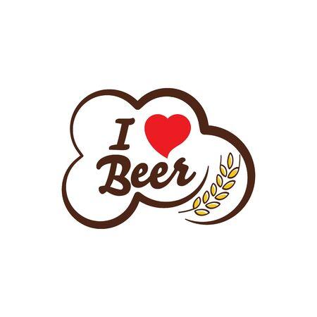 I love Beer Vector illustration design template Ilustración de vector