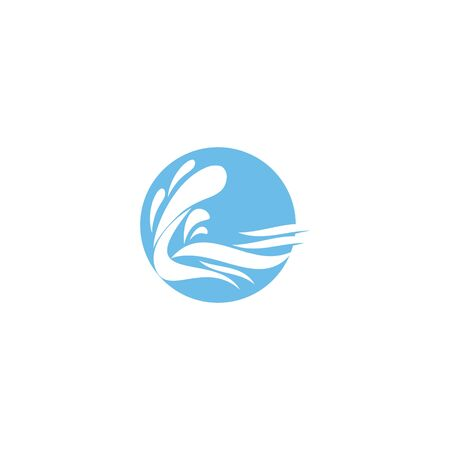 Waves icons. Vector symbols of ocean or sea blue water wave in form of splashes, stormy curling sea waves, tide water rollers, foamy stormy curls, wavy flows with surfing gales for badges or emblems Çizim