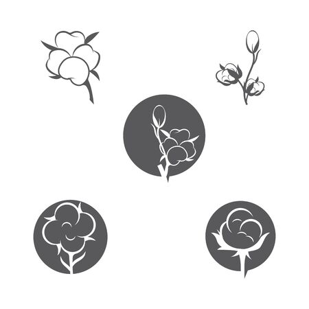 Cotton flower vector icon template symbol nature
