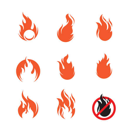 flame icon fire vector design template