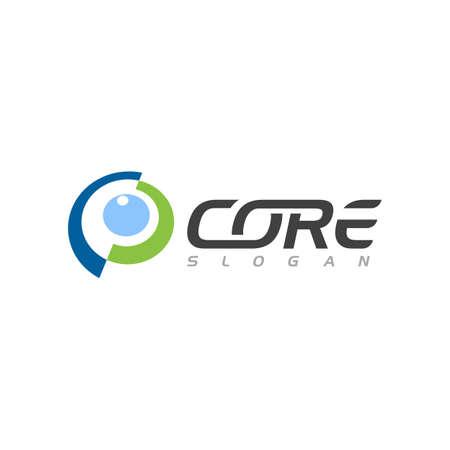 C Letter Core icon illustration design template