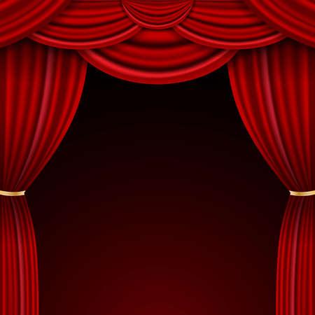 Realistic luxury curtain cornice decor domestic fabric interior drapery textile lambrequin, vector illustration curtains Ilustración de vector