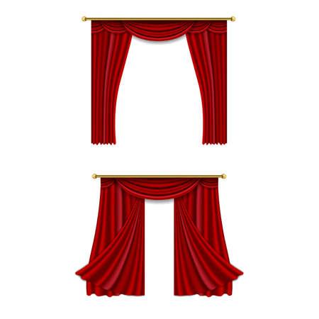 Realistic luxury curtain cornice decor domestic fabric interior drapery textile lambrequin, vector illustration curtains