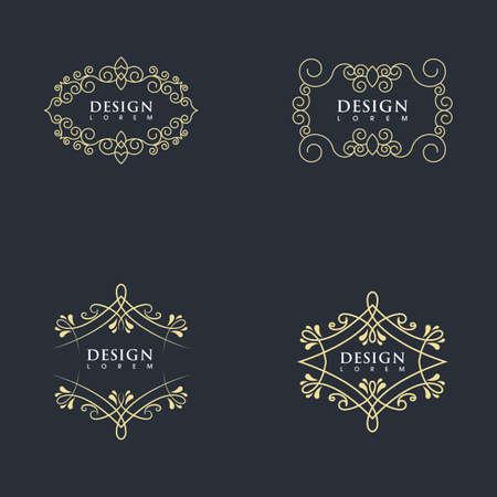 Vintage border line Template vector illustration design Vektoros illusztráció