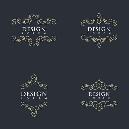 Vintage border line Template vector illustration design Vettoriali