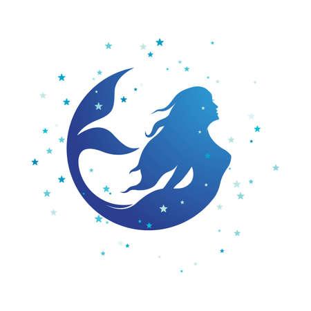 Mermaid vector illustration design template