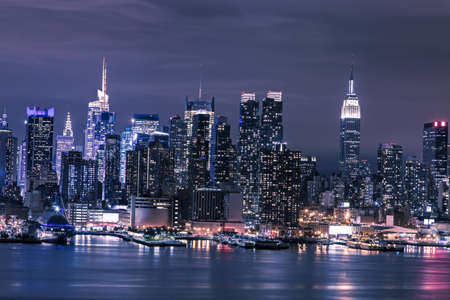 city square: Skyline of downtown Manhattan Stock Photo