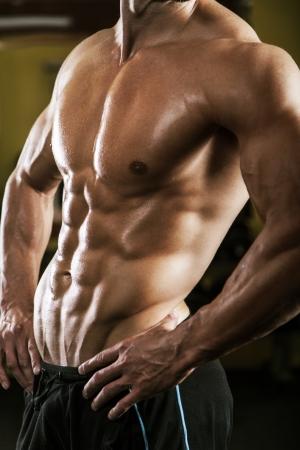 abdomen fitness: Torso masculino musculoso Foto de archivo