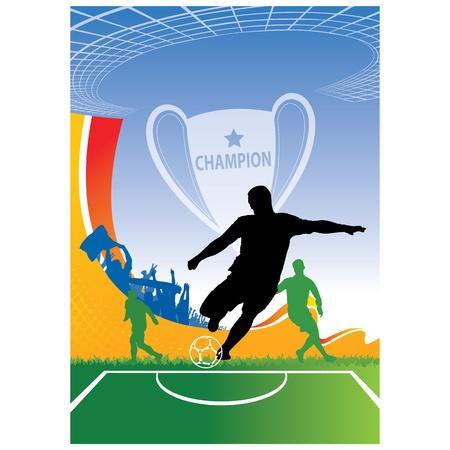 Voetbal Vector Poster met spelers achtergrond