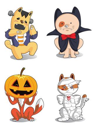 animals cartoon halloween monster characters