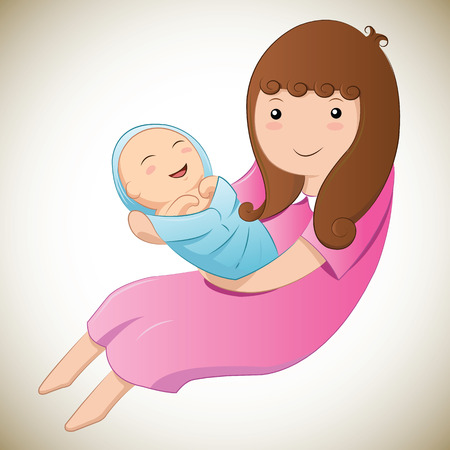 Mother and baby in her arms Vector