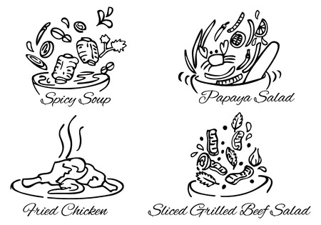 illustration of Thai foods black and white vector Illustration