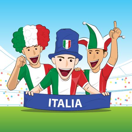 sport fan: Italy Sport Fan Vector