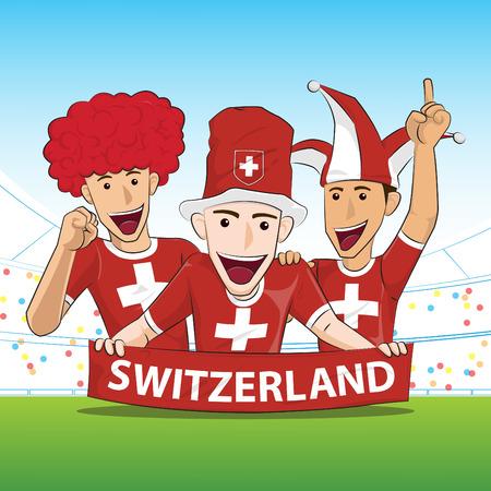 sport fan: Switzerland Sport Fan Vector