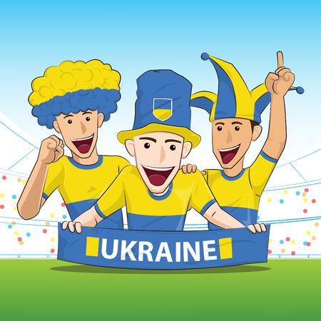 sport fan: Ukraine Sport Fan Vector Illustration