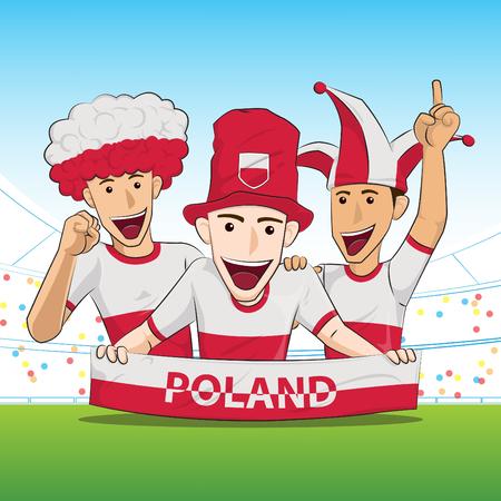 sport fan: Poland Sport Fan Vector Illustration