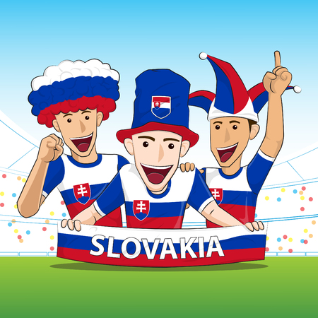the fans: Slovakia Sport Fans Vector