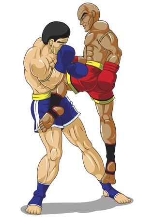 muay thai boran: Boxing martial art, Isolated on white background Illustration