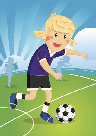 illustration of a cute young girl playing soccer Illustration