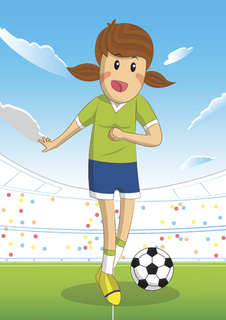 footwork: Soccer female player sport design