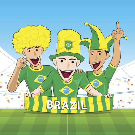 sport fan: Illustration Brazil Sport Fan Cheer