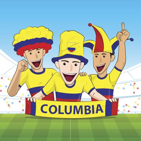sport fan: Illustration Columbia Sport Fan Cheer Illustration