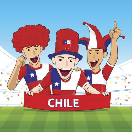 sport fan: Illustration Chile Sport Fan Cheer Illustration