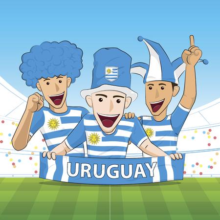 sport fan: Illustration Uruguay Sport Fan Cheer