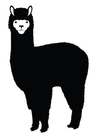 Alpaca Lama silhouette illustration Stock Illustratie