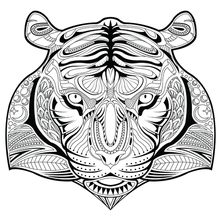 tiger page: Tiger face illustration coloring page Illustration
